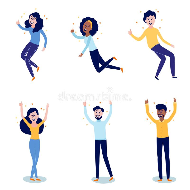 Delight and amorous people with thumbs up gesture set isolated on white background. Happy and smiling men and women flat cartoon characters with positive vector illustration