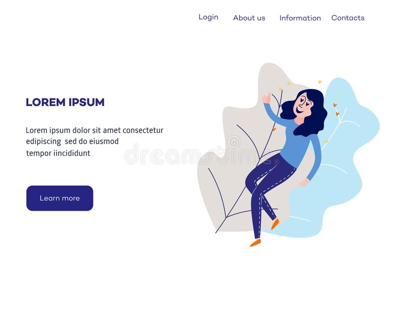 Delight and amorous woman with thumbs up gesture at web page template. Delight and amorous woman with thumbs up gesture at web page template - young happy and royalty free illustration