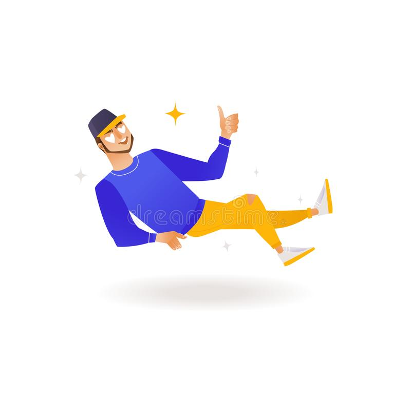 Delight and amorous young man with thumbs up gesture. Delight and amorous young man with thumbs up gesture - happy and smiling boy flying through air with royalty free illustration
