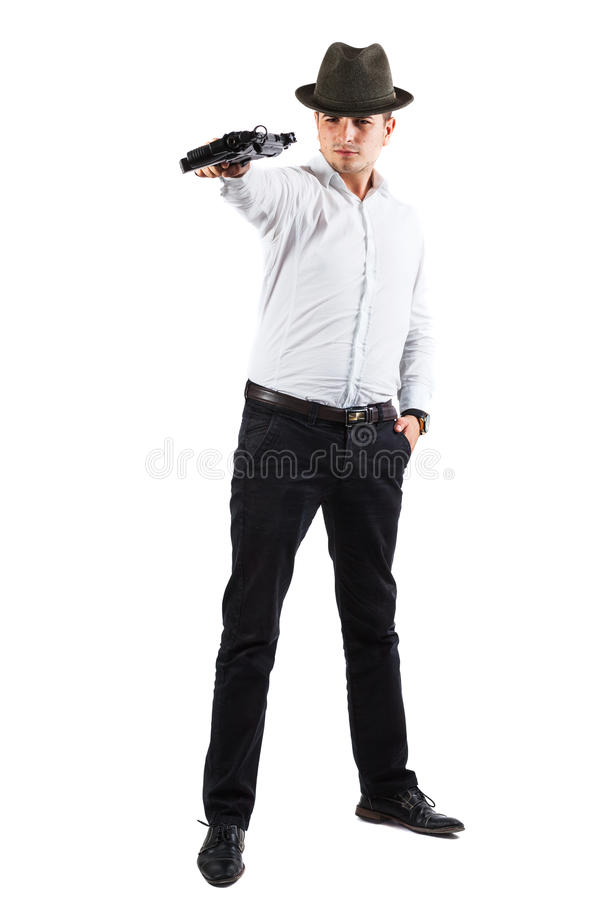 Download Delighted assasin with gun stock image. Image of isolated - 39528259