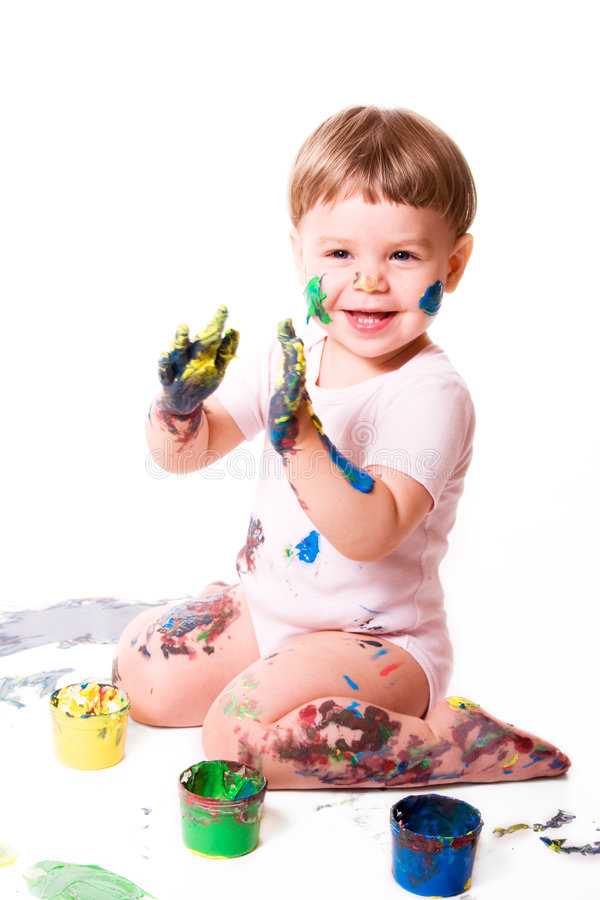 Download Delighted baby in colors stock image. Image of hands, colours - 4210261