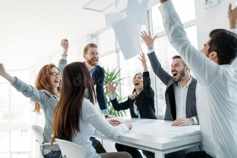 Business people working together on project and brainstorming in office royalty free stock photo