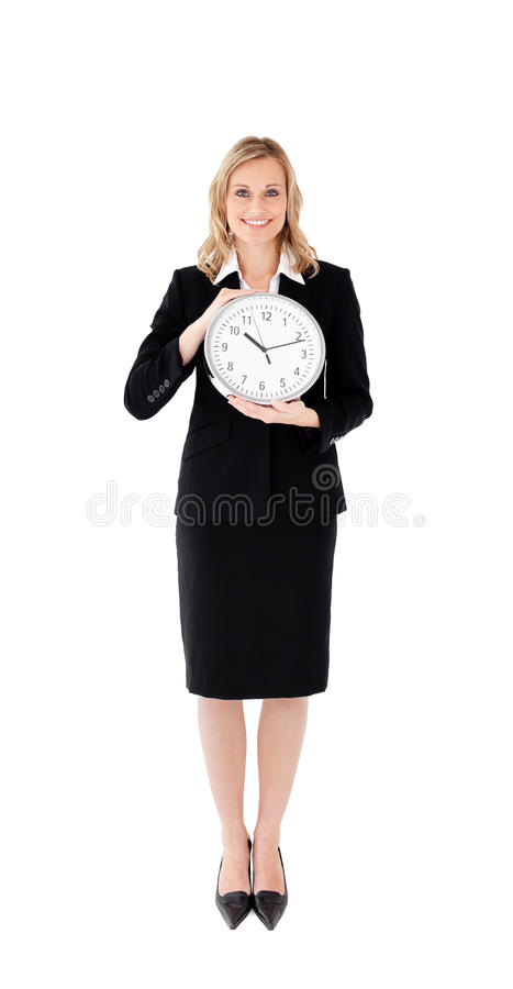 Download Delighted Businesswoman Holding A Clock Stock Image - Image: 15034077