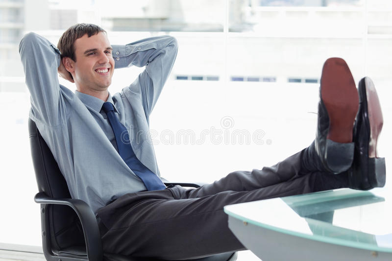 Download Delighted manager relaxing stock image. Image of indoors - 22693625