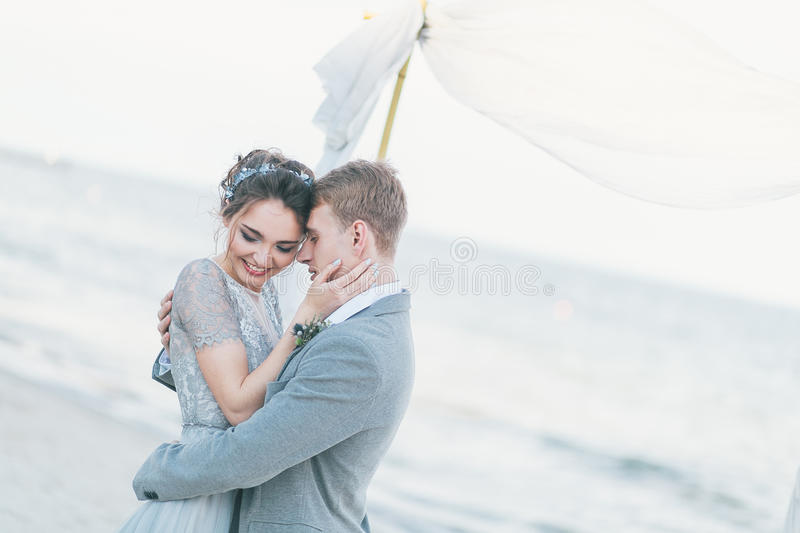 Delighted newly-weds cuddling at the seashore stock photo