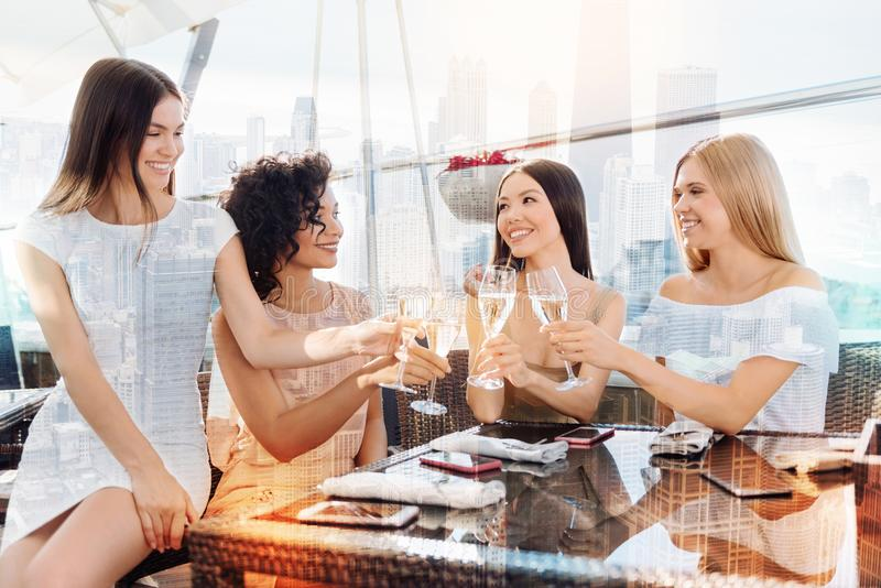 Delighted nice women sitting at the table royalty free stock photo