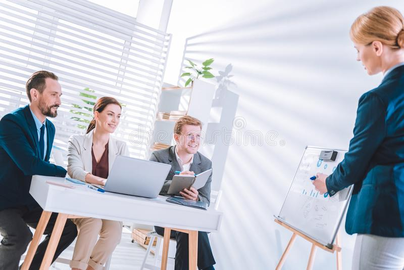 Delighted positive colleagues listening to their boss. Working plan. Delighted positive colleagues listening to their boss while having a meeting stock image