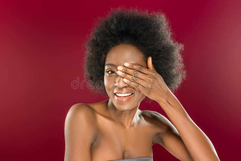Delighted positive woman being in a playful mood stock images