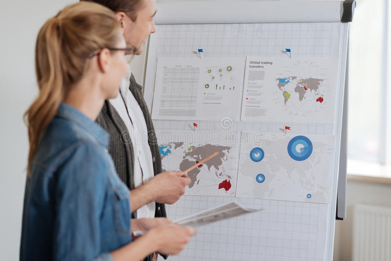 Delighted professional colleagues working in the office. Business presentation. Delighted professional nice colleagues looking at the statistical data stock photography