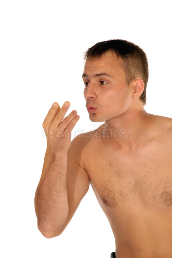 Delighted shirtless man expressing his admiration stock photography