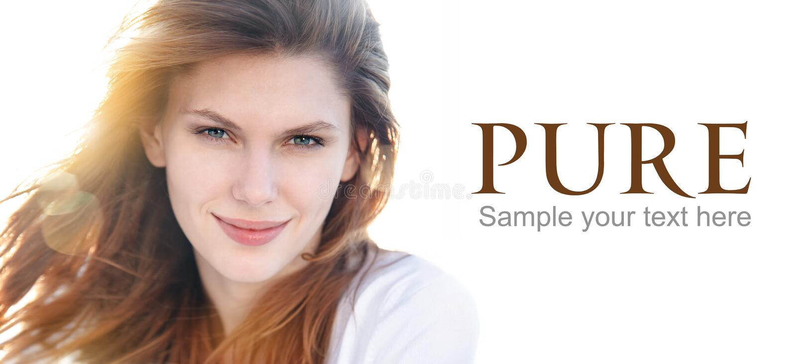 Delightful young woman on the cover. Portrait of magnificent brunette smiling girl - isolated on white background copy space stock photos