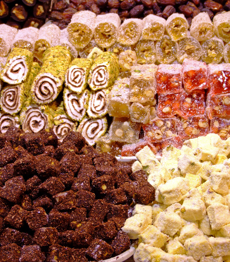 Delights assortment. Assortment of Turkish delights on a market royalty free stock photos
