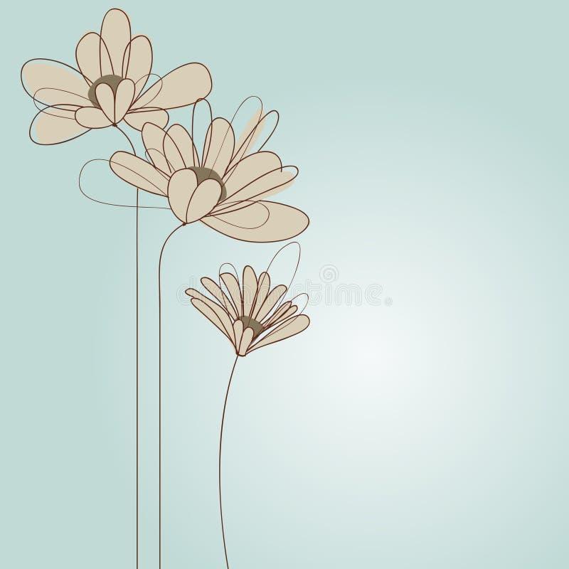 Delikat blom- hälsningkort vektor illustrationer