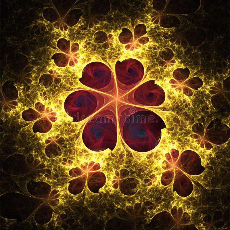 Delikat blomma för abstrakt fractalkonst med fjärilar royaltyfri illustrationer