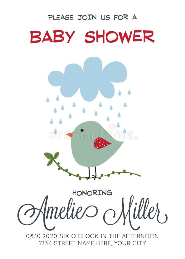 Delikat customizable baby showerkortmall med fågeln stock illustrationer
