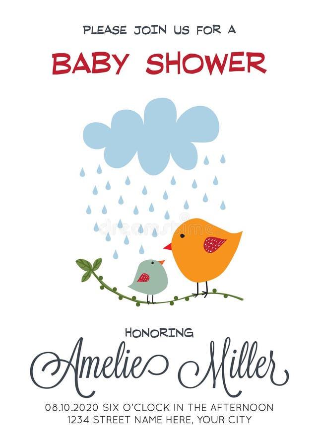 Delikat customizable baby showerkortmall med fåglar royaltyfri illustrationer