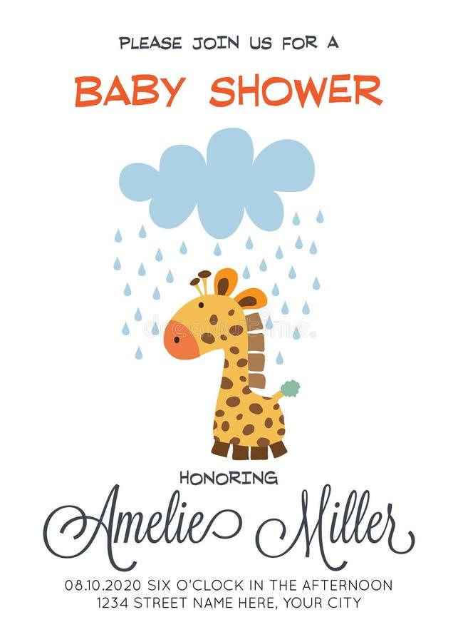 Delikat customizable baby showerkortmall med giraffleksaken stock illustrationer