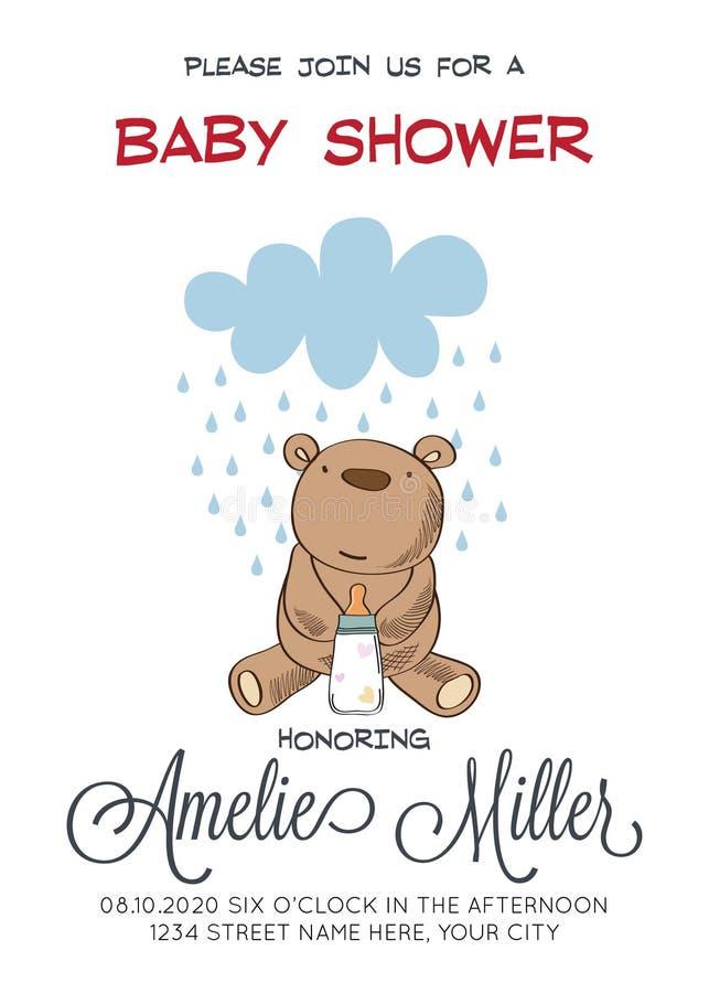 Delikat customizable baby showerkortmall med nallebjörnen stock illustrationer