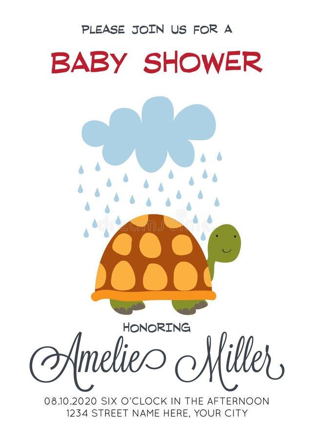 Delikat customizable baby showerkortmall med sköldpaddan vektor illustrationer