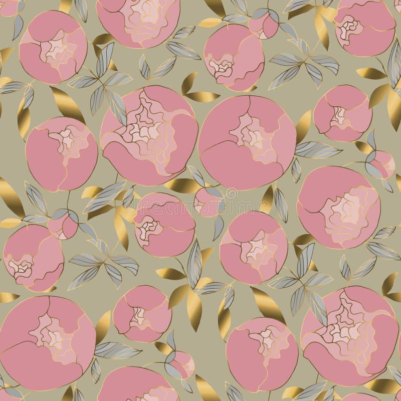 Delikat guld och rosiga pioner blomstrar den sömlösa modellen Blom- blumming nära förbindelse för vårpeon i tappning60-talstil royaltyfri illustrationer