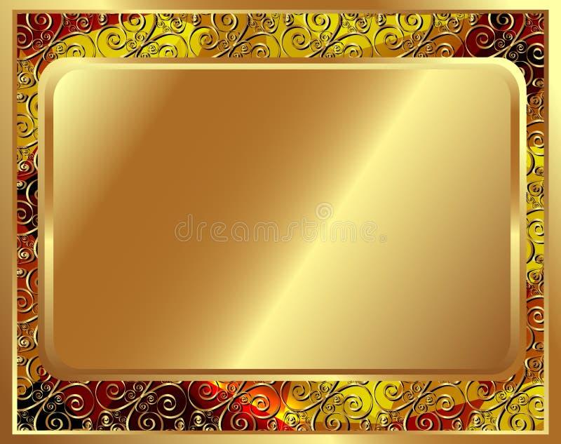 Delikat guld- ram med modell 2 stock illustrationer
