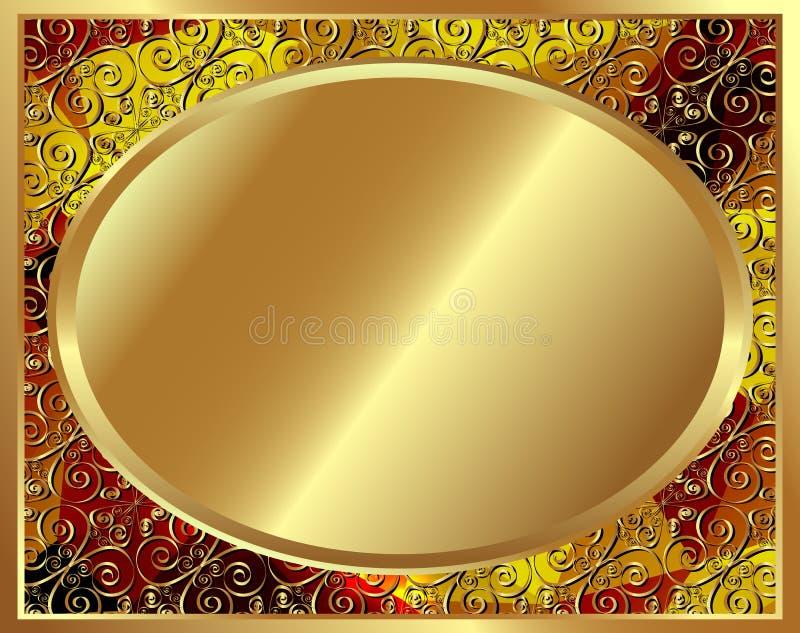 Delikat guld- ram med modell 3 vektor illustrationer