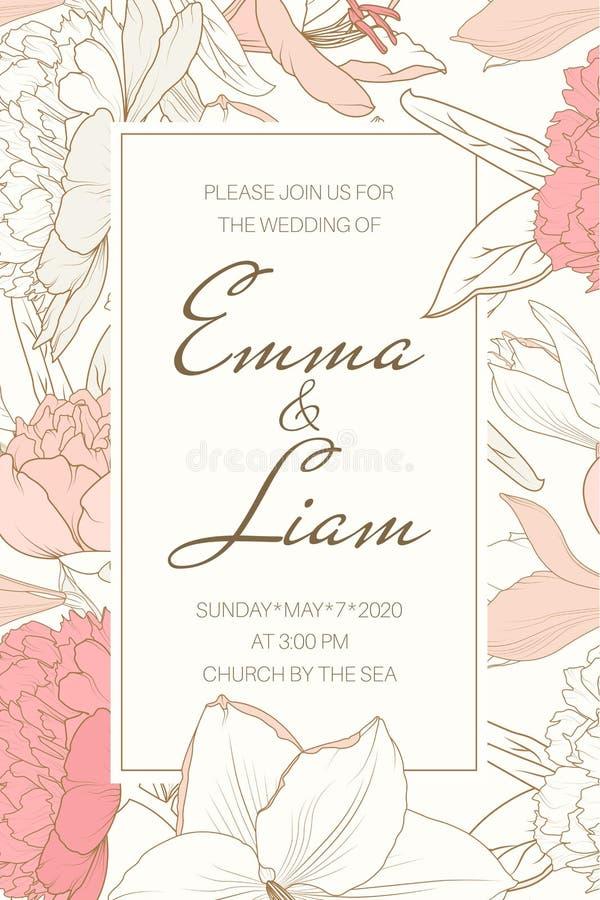 Delikat mjuk blom- ram från rosa rosa blommor för vit lilja för pion Härlig mall för bröllopinbjudankort vektor illustrationer