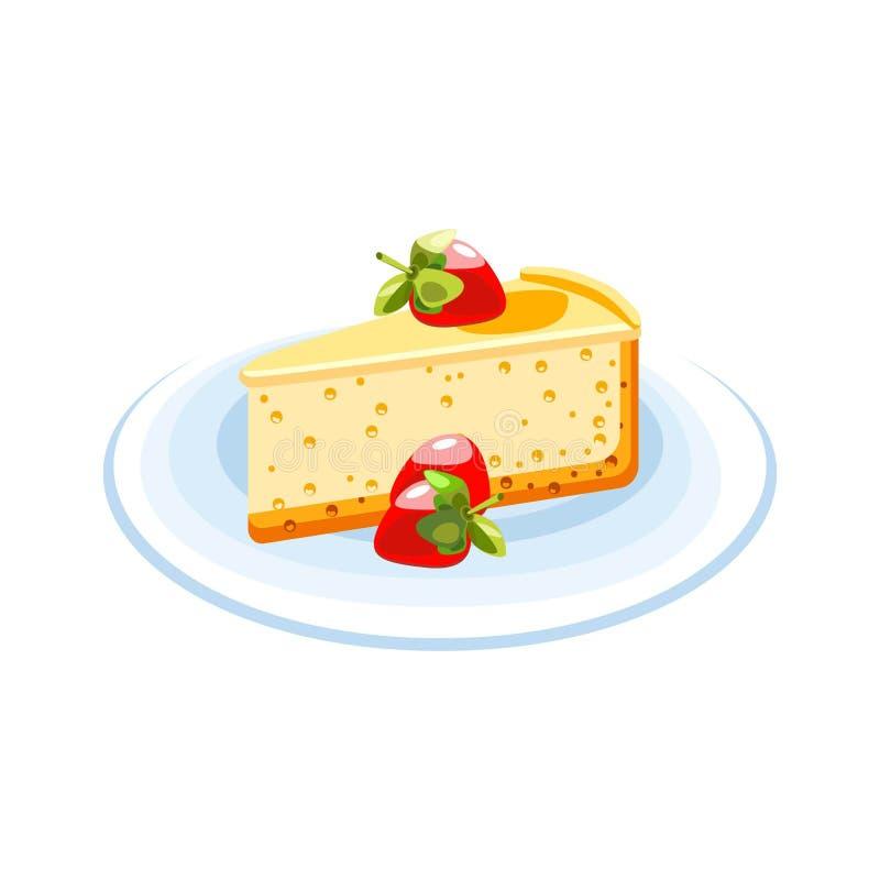Delikat ostkaka med jordgubbar och citronkräm Efterrätt på en blå platta Symbol av mat på en vit bakgrund royaltyfri illustrationer