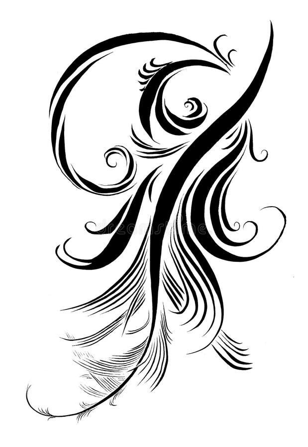 Delikat penna för kalligrafi vektor illustrationer