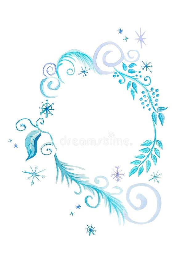 Delikat ram i blåa signaler med beståndsdelar av vinterdekoren royaltyfri illustrationer