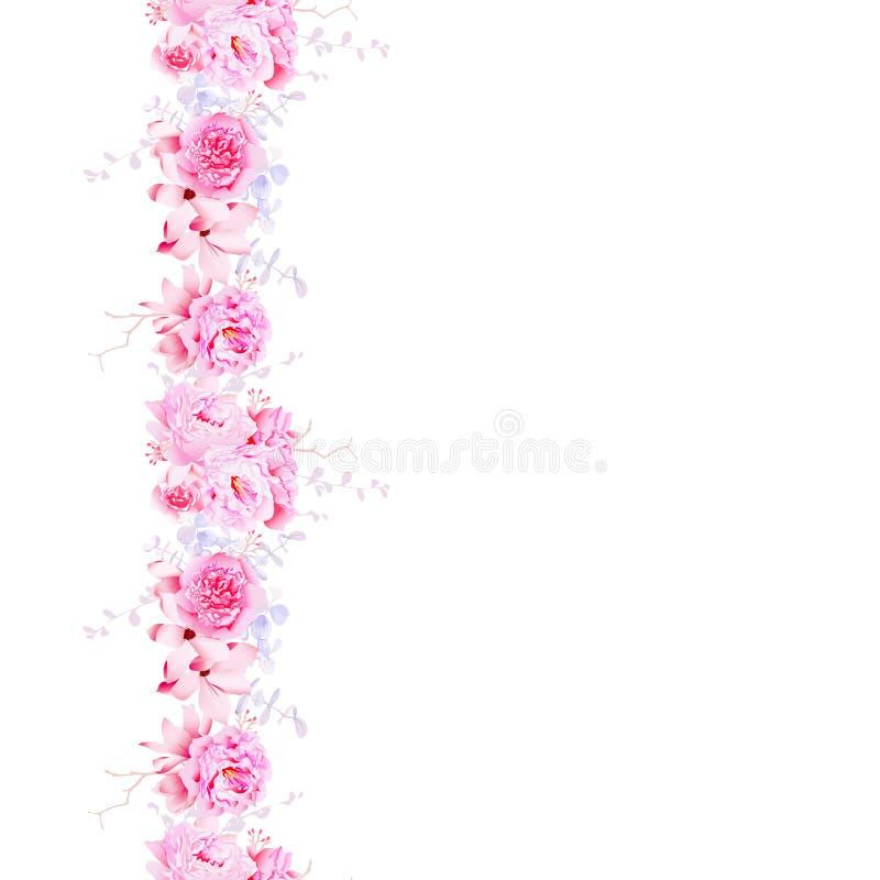 Delikat rosa kamelia och linje för sömlös vektor för pioner vertikal vektor illustrationer