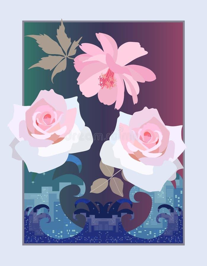 Delikat tänd - rosa rosor och en kosmosblomma över det rasa havet Vertikalt kort i vektor royaltyfri illustrationer
