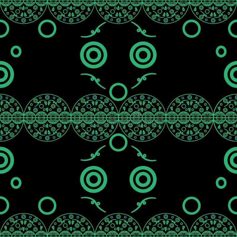 Delikata openwork cirklar för sömlös modell som är gröna på svart stock illustrationer