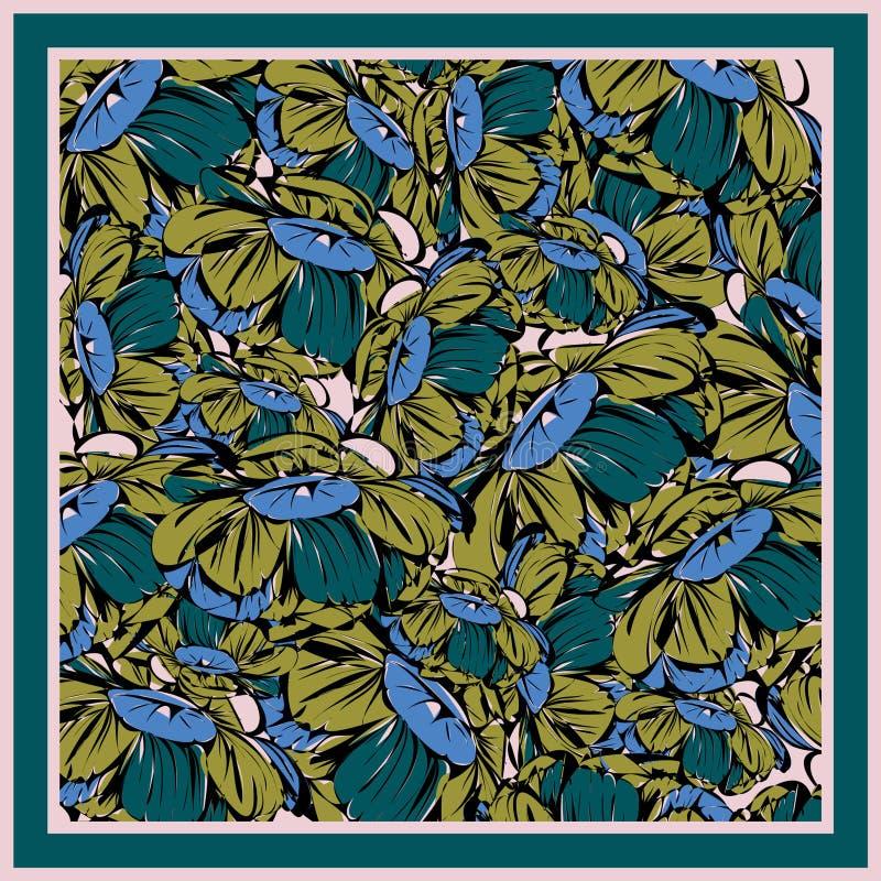 Delikate Farben des Seidenschals mit Blütenpegel lizenzfreies stockbild
