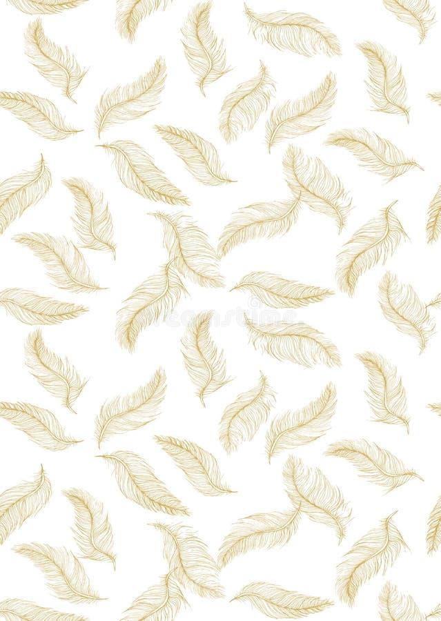 Delikatna ręka Rysujący latania piórka wektoru wzór Złoci piórka na Białym tle ilustracji