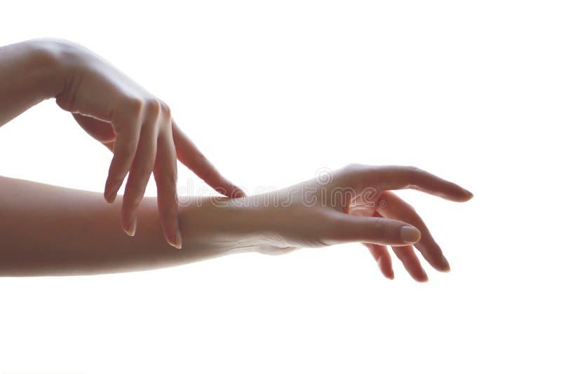 Delikatne ruchu i gesta żeńskie ręki Jest delikatny ty metafora obraz stock