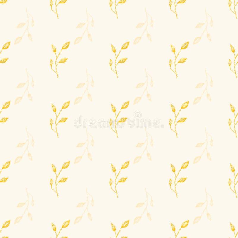 Delikatnego kreskowej sztuki złocistego liścia projekta wektoru Bezszwowy geometryczny wzór z przejrzystymi motywami na kremowym  obrazy royalty free
