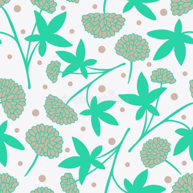 Delikatnego kwiatu bezszwowy wzór z pociągany ręcznie leczniczymi ziele ilustracja wektor