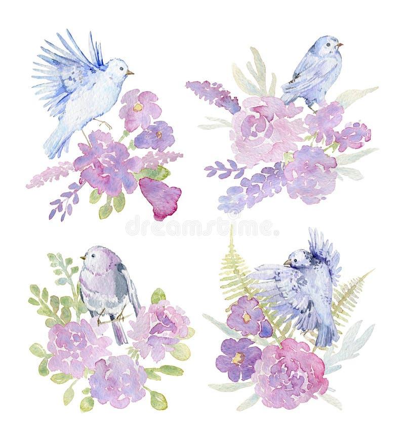 Delikatni bukiety z różowymi różami, peoniami, dzwonem, paprocią i ptakami dla ślubnej kartki z pozdrowieniami, Zaproszenie szabl ilustracja wektor