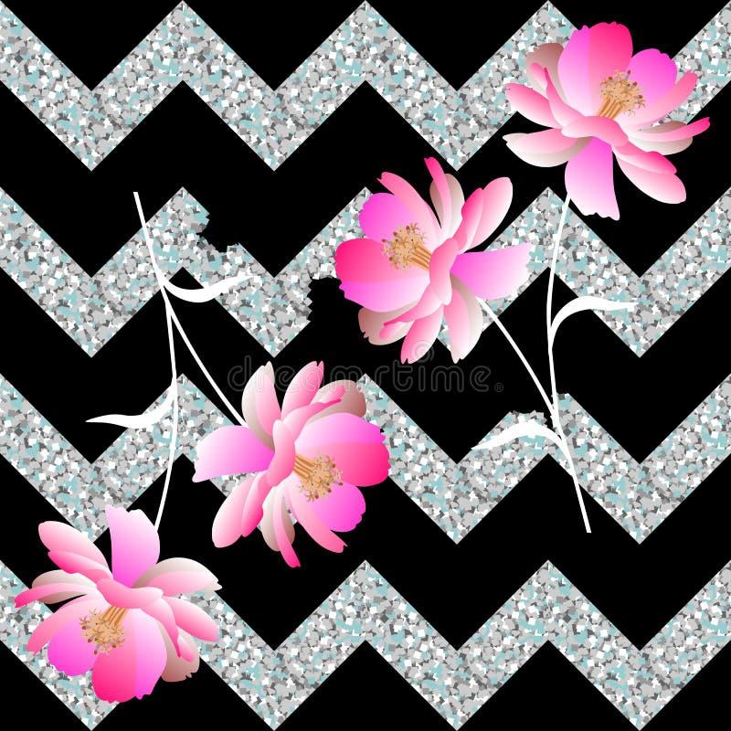 Delikatni menchia kwiaty i załamywać się srebrzystego zygzag na czarnym tle Bezszwowy wiosna wzór w wektorze Romantyczny druk ilustracji