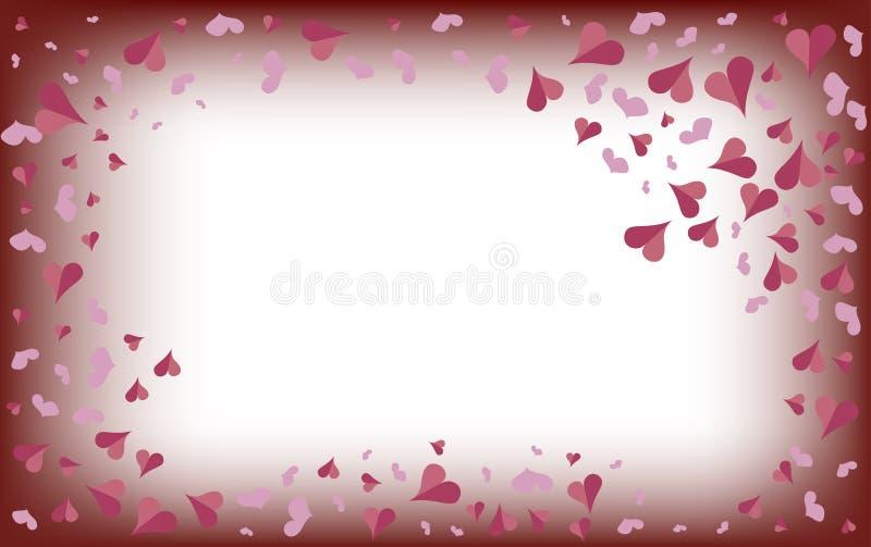 Delikatni różowi serca na zamazanym białym tle royalty ilustracja