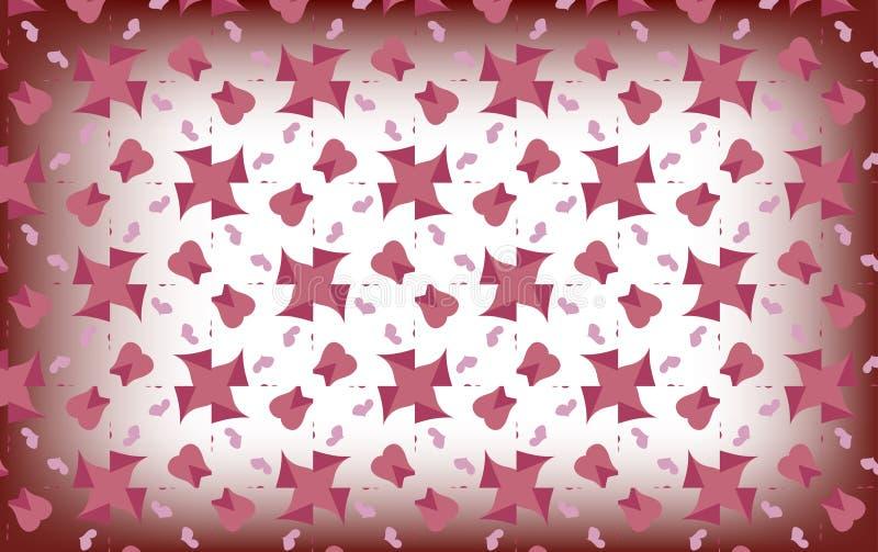 Delikatni różowi serca na zamazanym białym tle ilustracja wektor