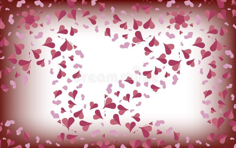 Delikatni różowi serca na zamazanym białym tle ilustracji
