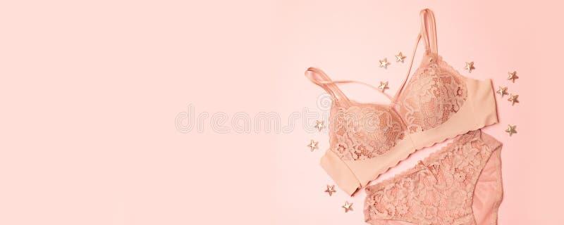 Delikatnie różowa koronkowa bielizna z gwiazda wystrojem na różowym tle Gratulacyjny romantyczny pojęcie dla walentynka dnia obrazy royalty free
