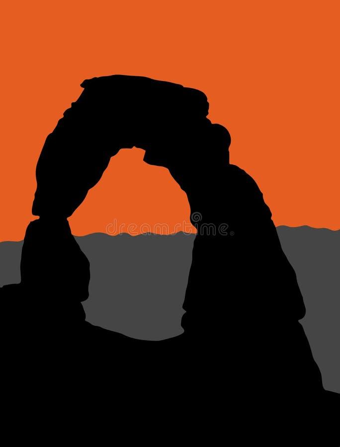 Delikatny łuk w łuku parku narodowym - Utah, usa ilustracja wektor