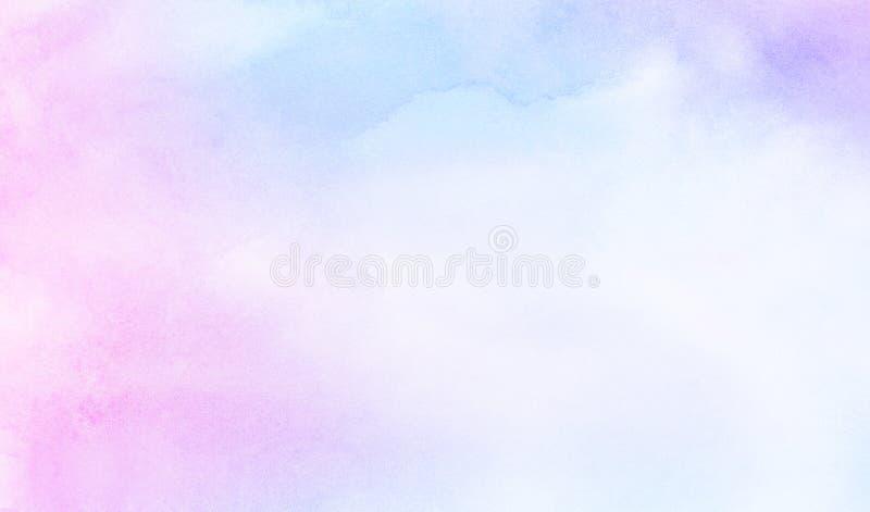 Delikatny błękita, purpur i menchii cieni akwareli tło dla rocznik karty, retro szablon zdjęcie stock