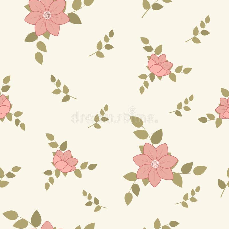 Delikatny bezszwowy śliczny lato wzór kwiaty i liście w modnych pastelowych kolorach Przypadkowy rozkaz Dla tkaniny, pościel, tap royalty ilustracja