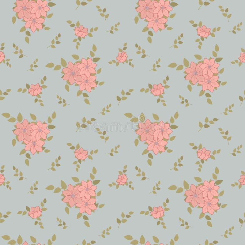 Delikatny bezszwowy śliczny lato wzór kwiaty i liście w modnych pastelowych kolorach Przypadkowy rozkaz Dla tkaniny, pościel, tap ilustracja wektor