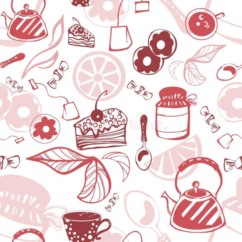Delikatny bezszwowy wzór z cukierkami i herbatą ilustracja wektor