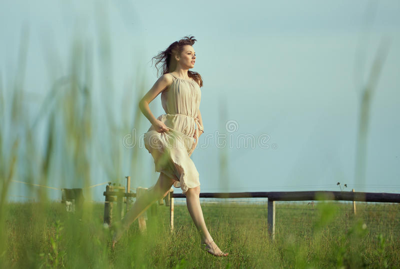 Delikatny dama bieg na łące zdjęcia royalty free